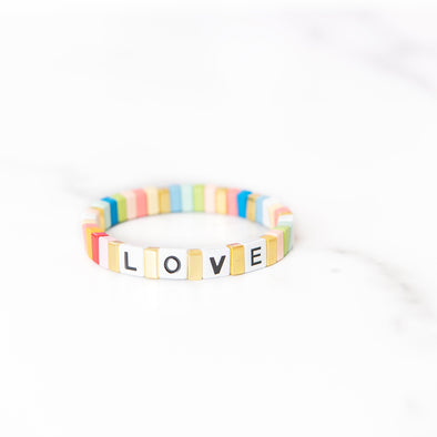Multi-Color Love Tile Bracelet