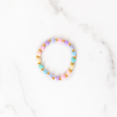 Pastel Rainbow Heart Gold Beaded Bracelet