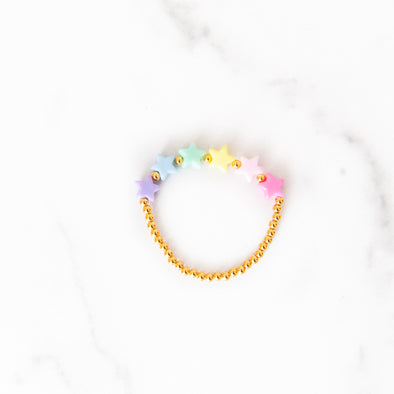 Pastel Rainbow Star Gold Beaded Bracelet