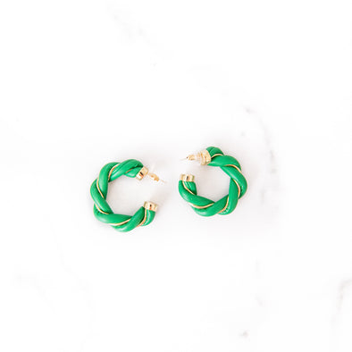 Twisted Leather Hoops | Green
