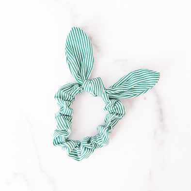 Green and White Scrunchie