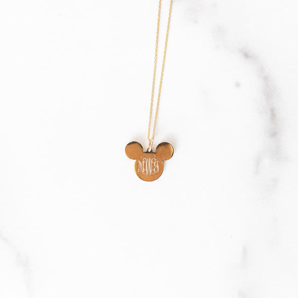 Monogrammed Mouse Necklace