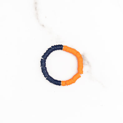 Navy & Orange Polymer Clay Bracelet