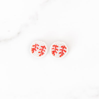 Beaded Baseball Stud Earrings