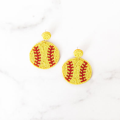 Beaded Softball Earrings