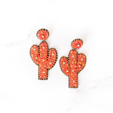 Beaded Coral Cactus Earrings