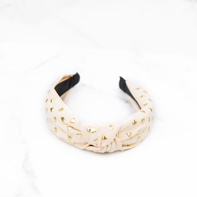 Ivory Headband with Gold Hearts