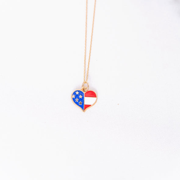 Land that I Love | Patriotic Heart Necklace