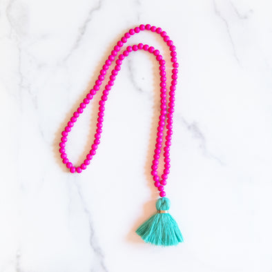 Hot Pink and Turquoise Tassel Necklace