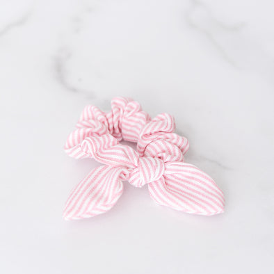 Pink and White Seersucker Scrunchie