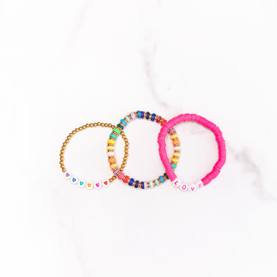 Rainbow + Hearts + LOVE Bracelet Set