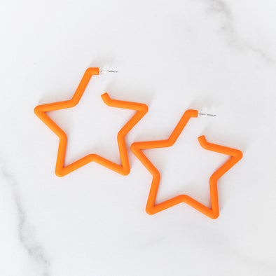 Astros Orange Star Earrings