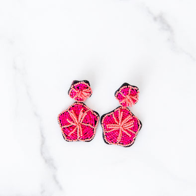 Exotic Pink Floral Beaded Earrings