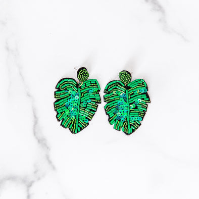 Sequin Palm Leaf Earrings