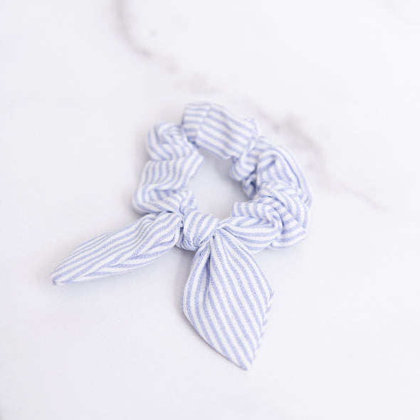 Blue and White Seersucker Scrunchie