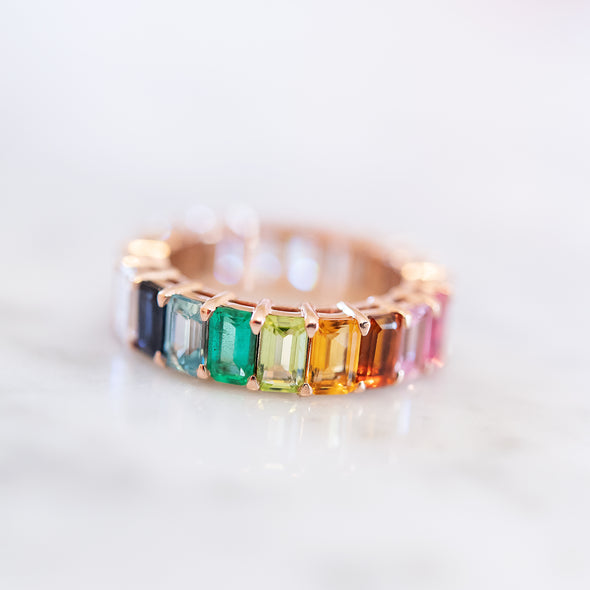Emerald Cut Rainbow and Diamond Eternity Band