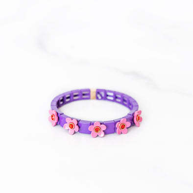 Pink and Purple Daisy Tile Bracelet