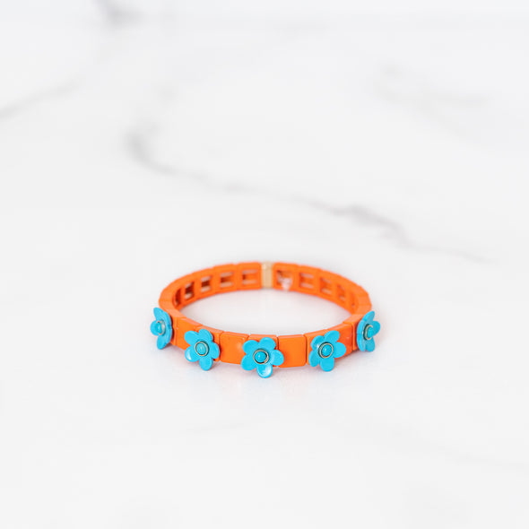 Orange and Blue Daisy Tile Bracelet