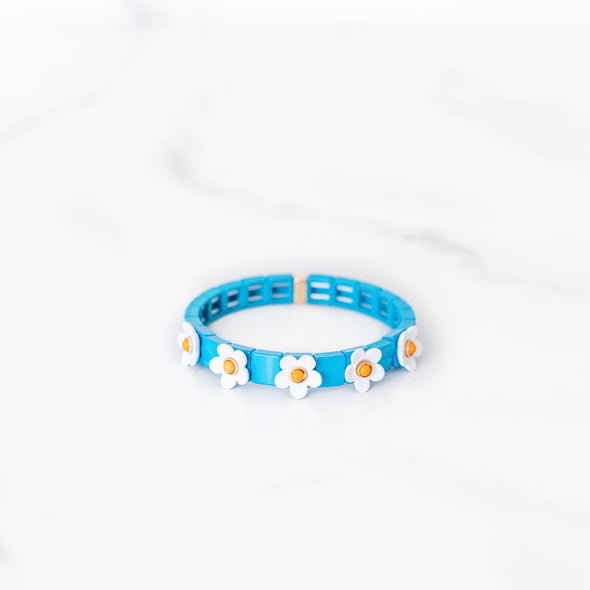 Blue and White Daisy Tile Bracelet