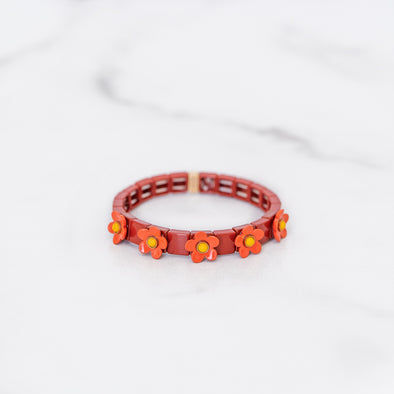Red and Orange Daisy Tile Bracelet