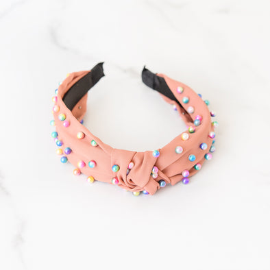 Mauve Orange Headband with Rainbow Ombre Pearls