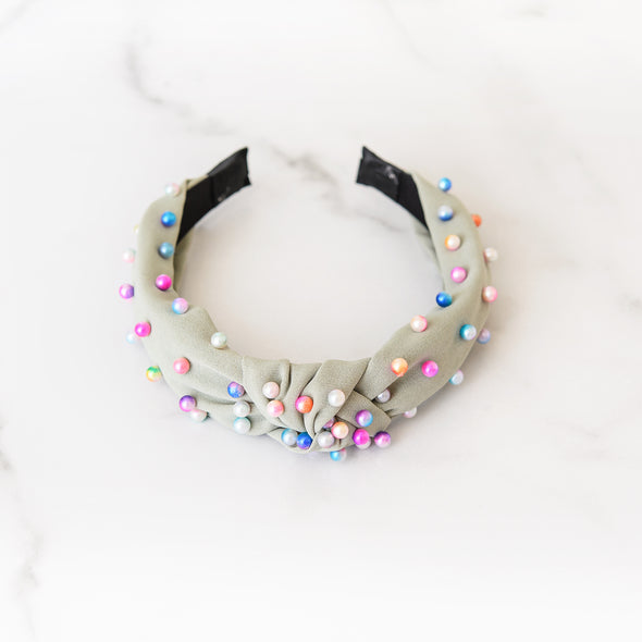 Green Headband with Rainbow Ombre Pearls