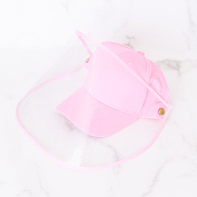 Youth Baseball Hat with Removable Face Shield | Pink