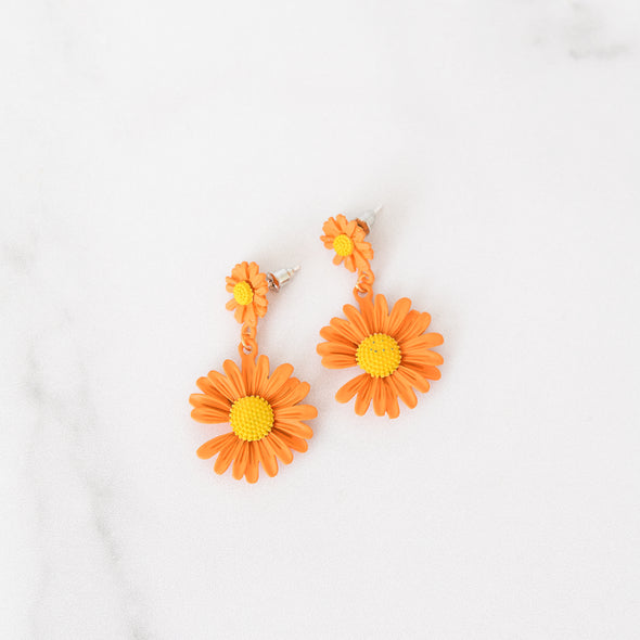 Orange Daisy Drop Earrings