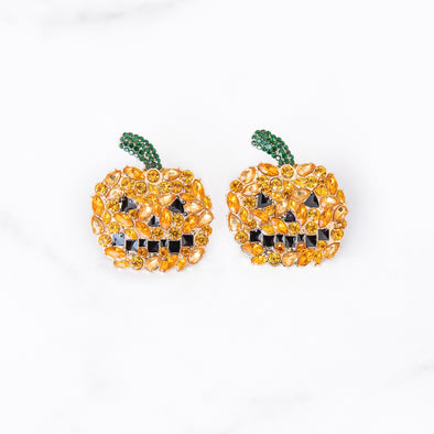 Jeweled Jack-O'-Lantern Stud Earrings