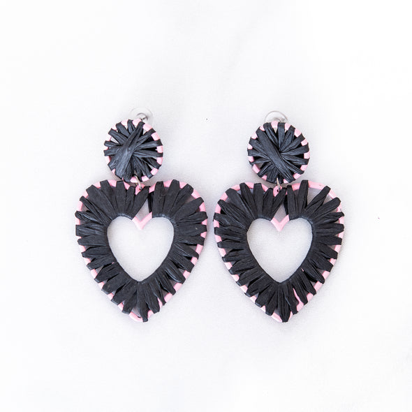 Black Raffia Heart Earrings