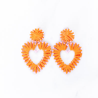 Orange Raffia Heart Earrings