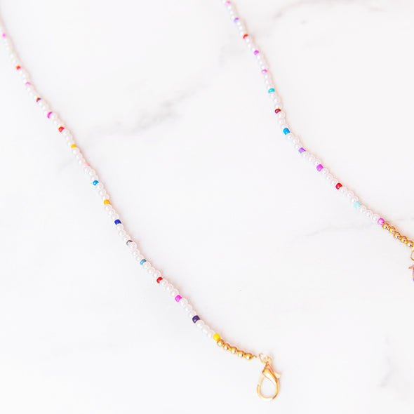 Pearl + Rainbow Beaded Mask Chain | Adult