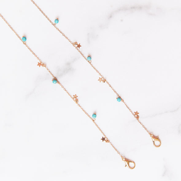 Turquoise + Gold Star Mask Chain | Adult