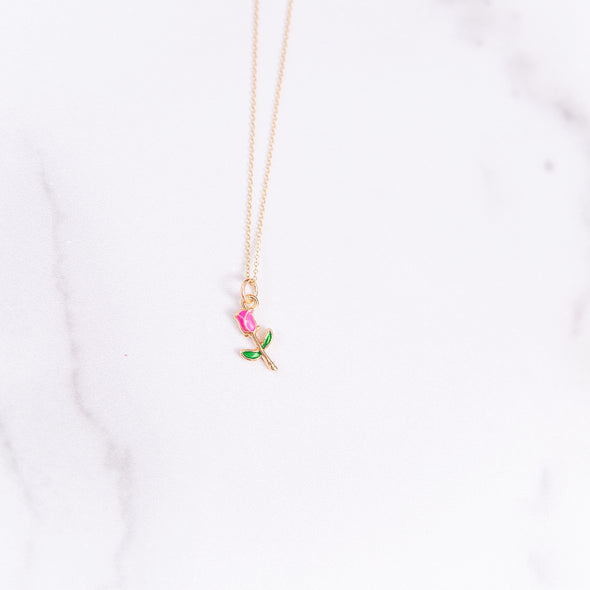 Pink Enamel Rose Necklace