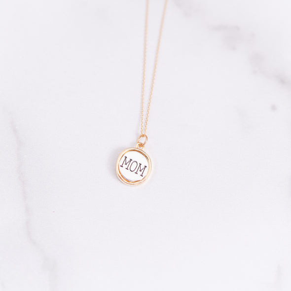 Two-Toned Silver MOM Necklace