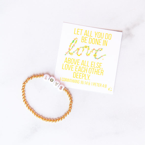 LOVE | Gold Beaded Bracelet