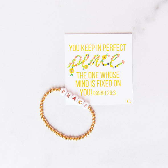 PEACE | Gold Beaded Bracelet