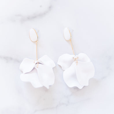 White Flower Drop Earrings