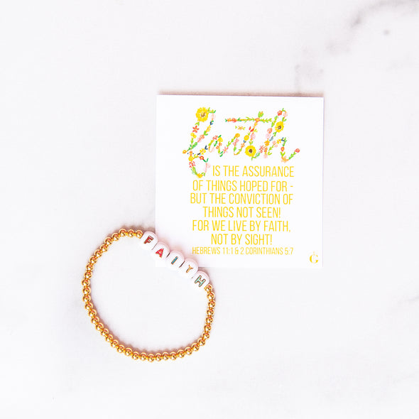 FAITH | Gold Beaded Bracelet