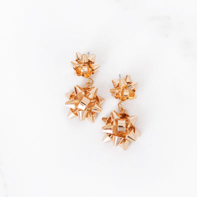 Merry & Bright Bow Drop Earrings | Gold