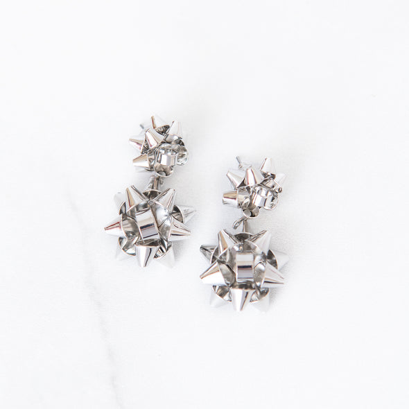 Merry & Bright Bow Drop Earrings | Silver