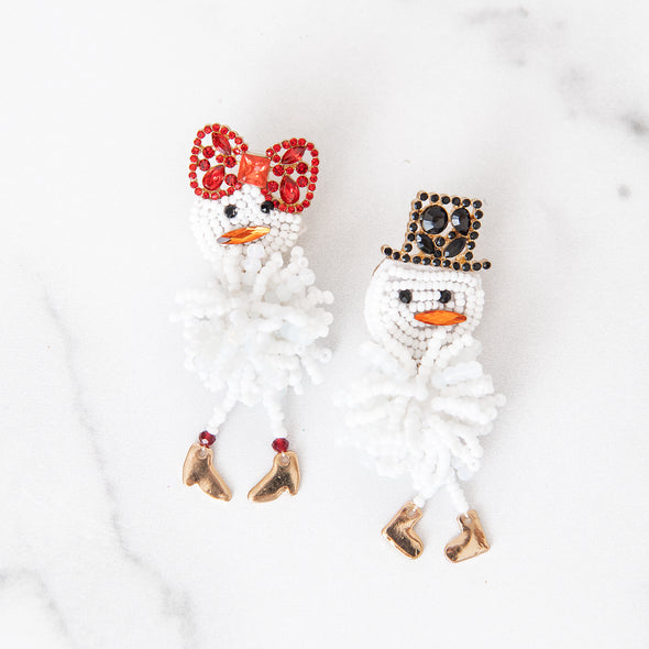 Mr. & Mrs. Frosty the Snowman Earrings