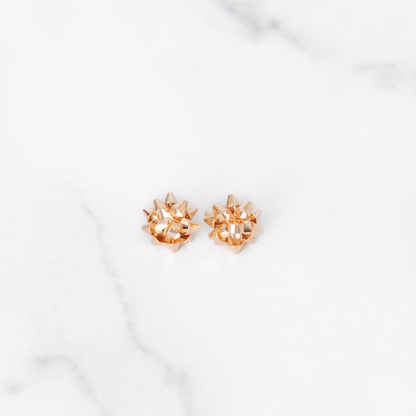 Merry & Bright Bow Studs | Gold