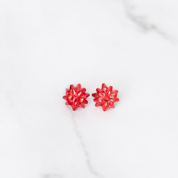 Merry & Bright Bow Studs | Red