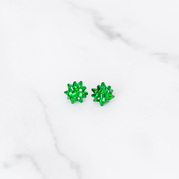 Merry & Bright Bow Studs | Green