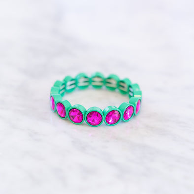 Hot Pink + Green Gemstone Bracelet