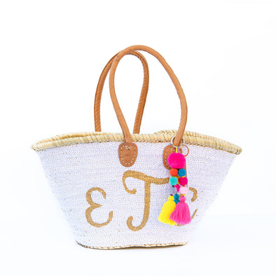 WHITE All-Sequin Beach Bag | Large