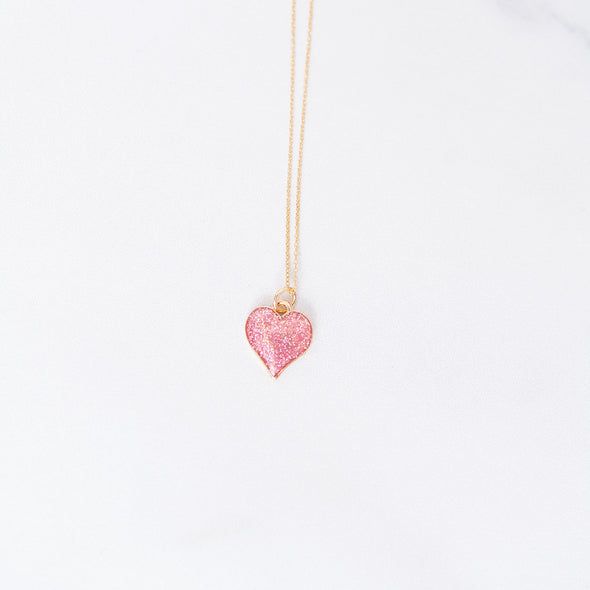 Pink Glitter Heart Charm Necklace