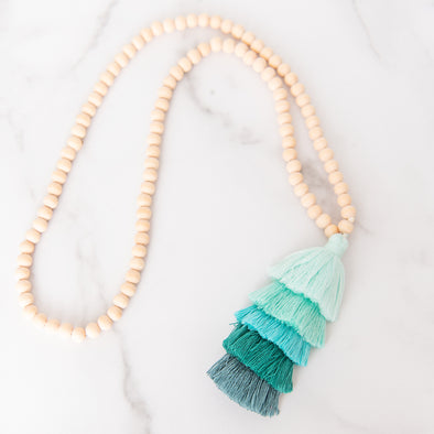 Ombre Turquoise Tassel Wooden Bead Necklace