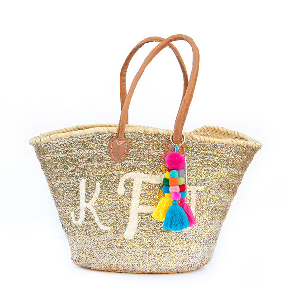 GOLD All-Sequin Beach Bag | Large